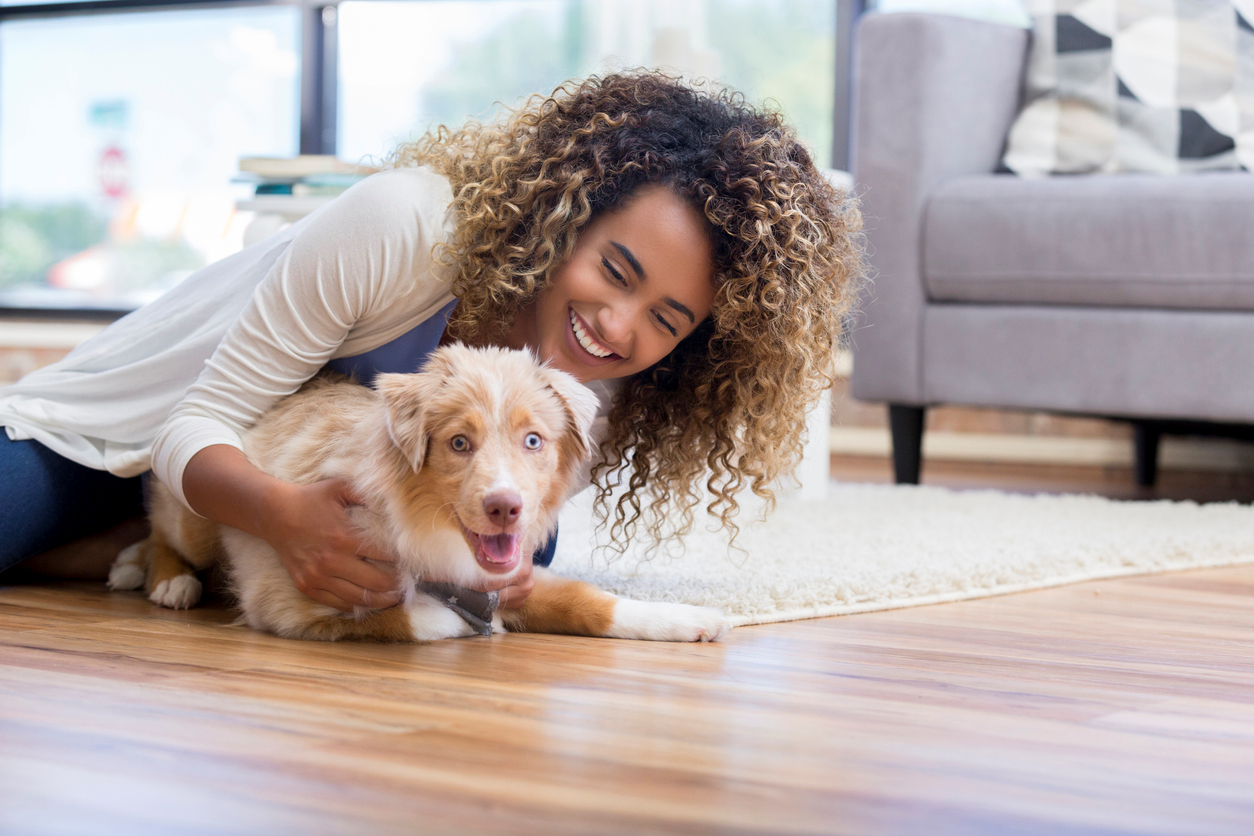 Woman playing with puppy on the floor.