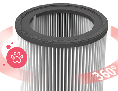 360 degree HEPA filter removing pet dander