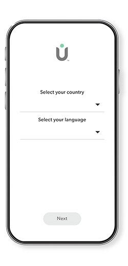 Phone with the TruSens App showing the country and language selection screen.