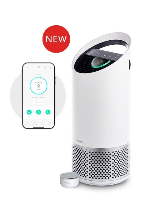 Medium TruSens Smart Air Purifier, accompanied by the enhanced SensorPod and TruSens app.