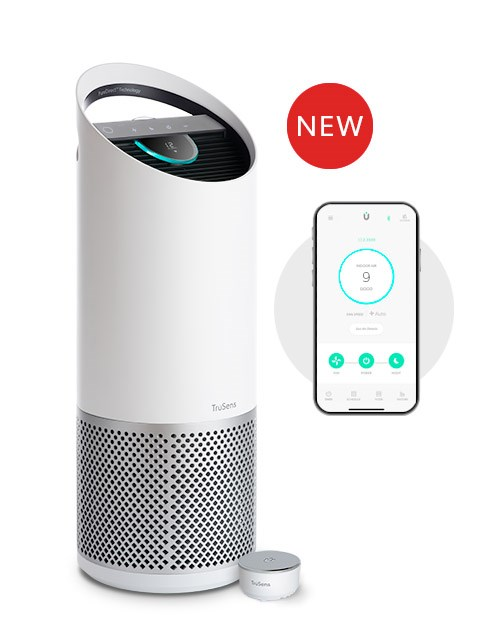 Large TruSens Smart Air Purifier, accompanied by the enhanced SensorPod and TruSens app.