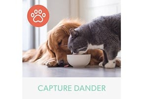 "Dog and cat eating out of the same bowl. Below, are the words ""Capture Dander"""